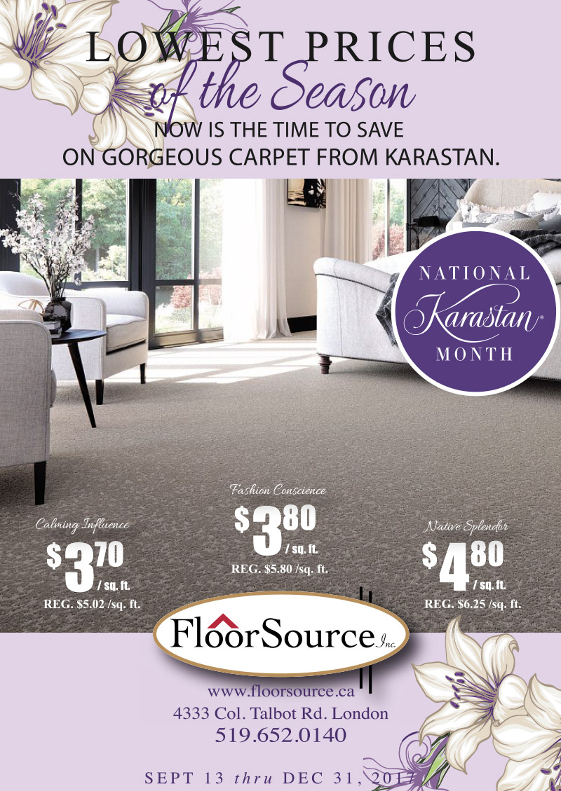 Promotional poster for Karastan Carpet - September 13 to December 31, 2017