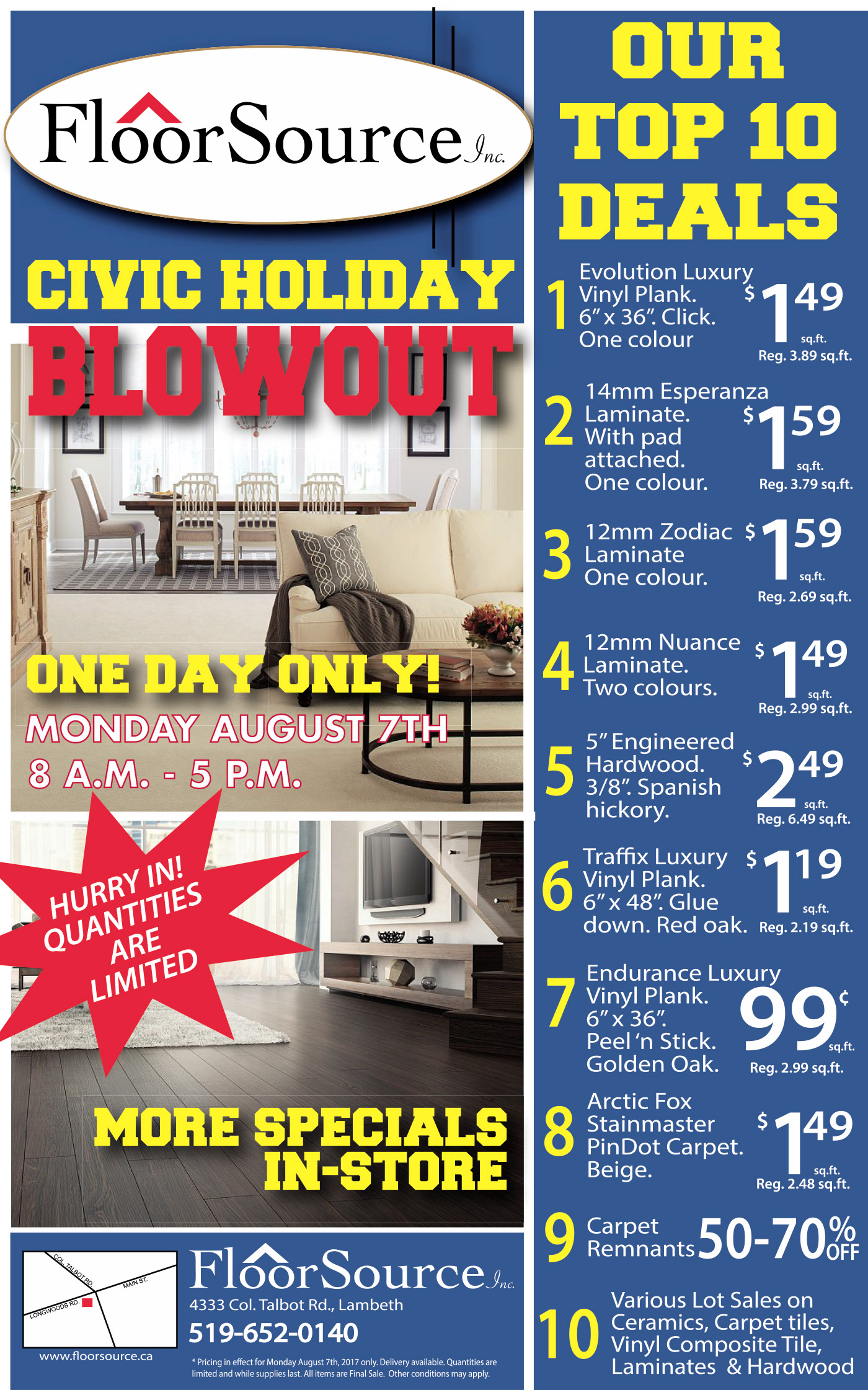 Civic Holiday Sale Flyer